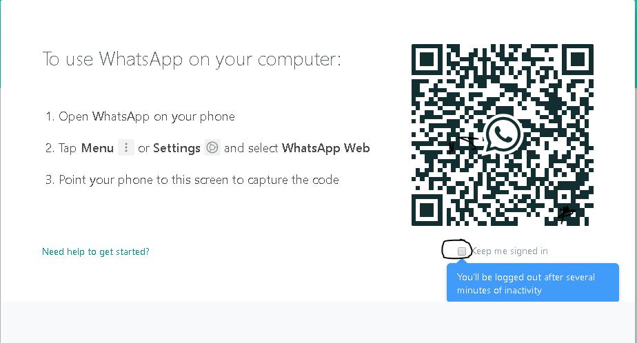 Whatsapp login screen