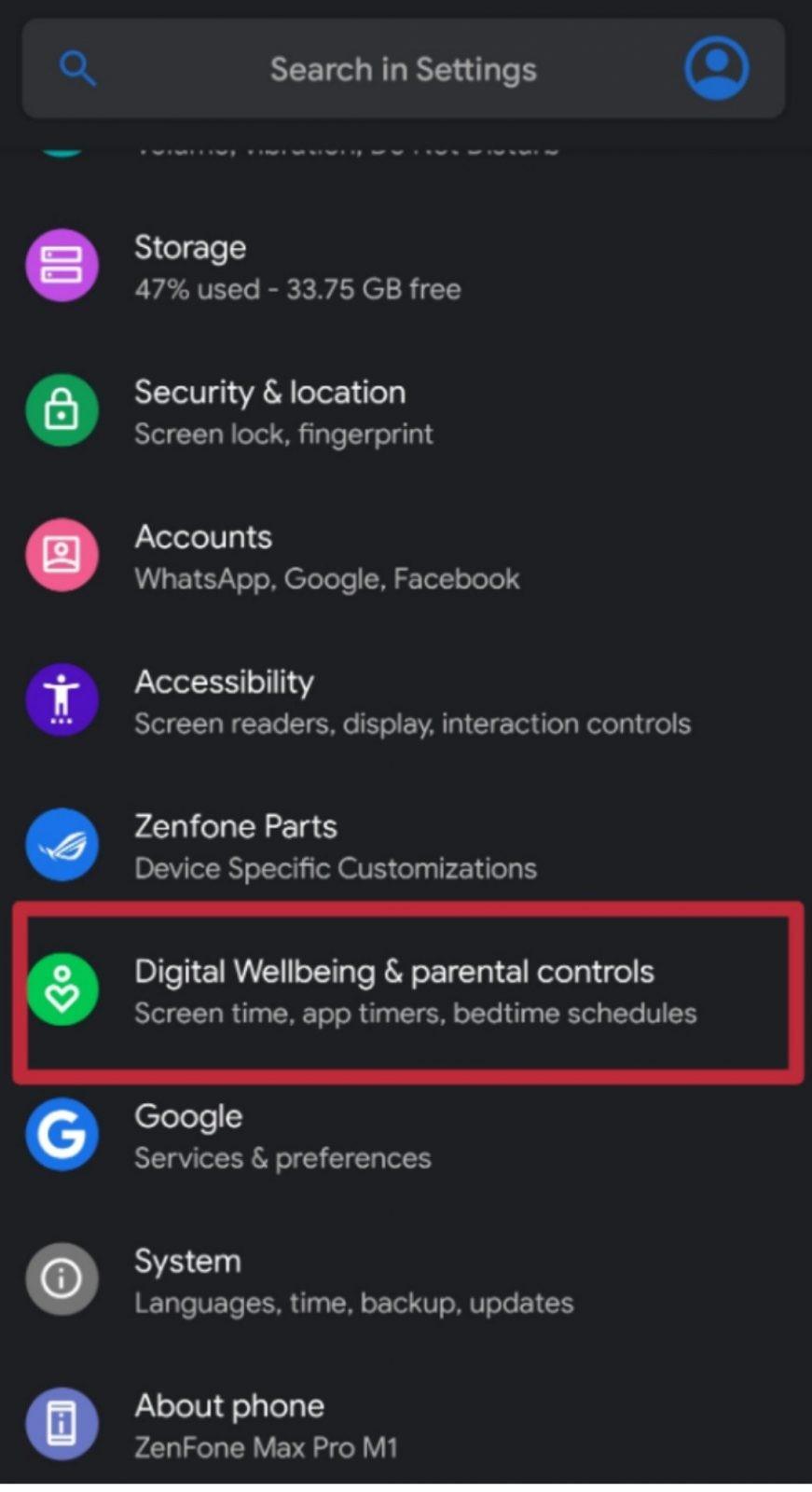 digital wellbeing settings